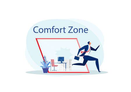 businessman run out of glass the comfort zone  to success. Vector Stock Illustratie
