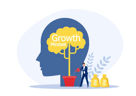 Businessman Watering plant on silhouette head  growth mindset concept vector illustration. Stock Illustratie