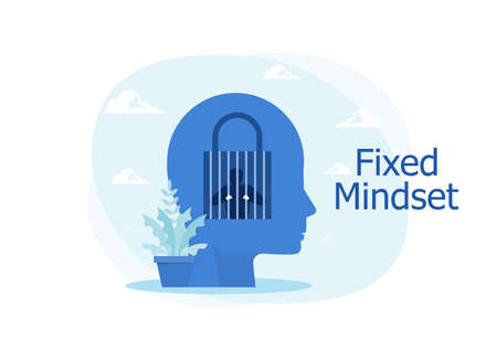 Human in prison with lock Fixed mindset human head silhouette. Negative Thinking Concept. Stock Illustratie