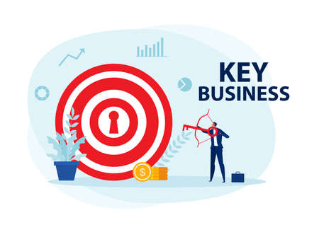 businessman character archery shooting targets key business concept vector