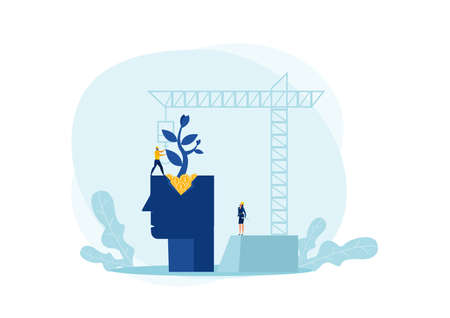 Engineer plant tree on head human with Cranes building construction background growth mindset concept vector