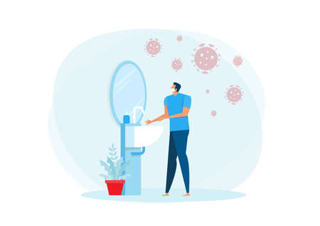 A man wearing medical mask and washing his hands in the sink concept vector illustration. Stock Illustratie