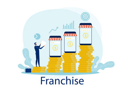 Business invest franchise and Growth of the franchise concept . Stock Illustratie