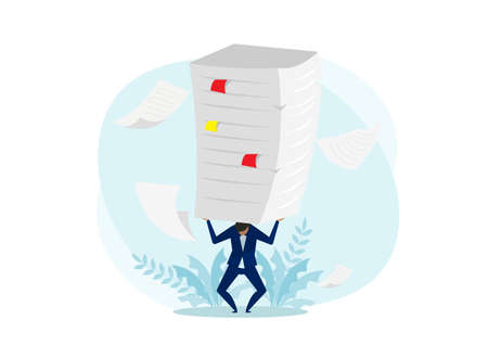 Hard work  concept,Businessman In Suit Bent Over Carrying A Stack Of Documents On His Back Vector.