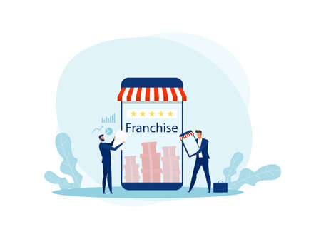 Businessman offer promote franchise to customer for investment illustrator