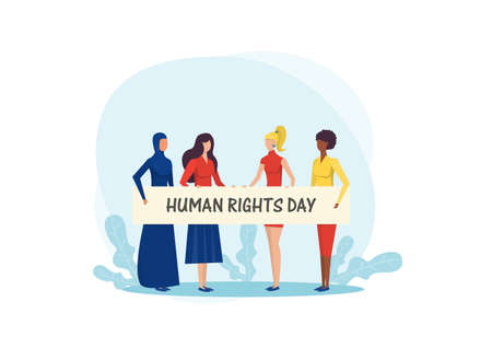 Girls  holding banner. Fight for freedom on  international human rights day vector illustrator. vector