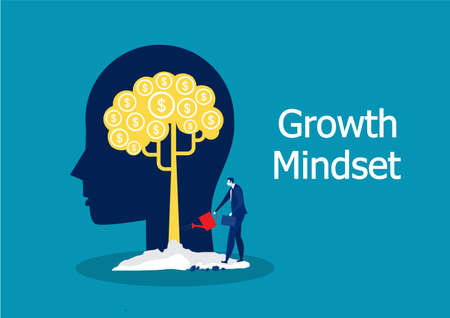 businessman Watering plants income growing and growth mindset concept Stock Illustratie
