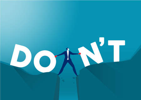 businessman push between don't wording and do wording on mountain . mindset for career growth business concept illustrator vector.