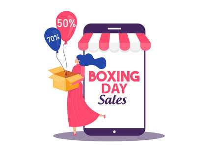 Boxing Day Sale, woman shopping seasonal Discounts Campaign Flat Vector Advertising Stock Illustratie
