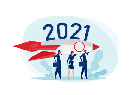 Team business people holding a rocket aimed at the target 2021 years. Flat vector illustration