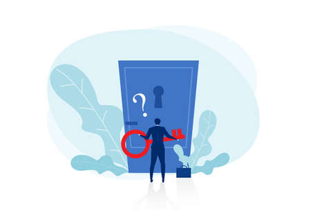 businessman holding key with Big question mark to unlock door  resolution  Opening mind concept concept  Vector illustration flat design. Isolated on white background