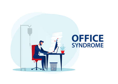 Vector - Tired businessman at office with office syndrome health concept
