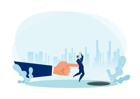 A giant hand pushing at business executive Creative nudge concept.flat vector illustration