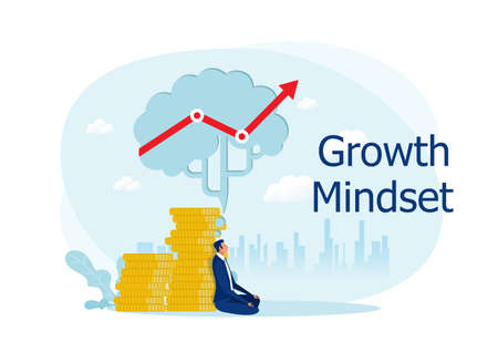 businessman meditate under big brain with thinking growth mindset to business profit creative concept flat design vector illustrator Stock Illustratie