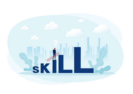 Businessman looking carry ladder cross to skill word with challenge. illustration Vector Stock Illustratie