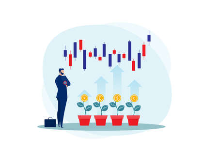 Business Strategy Analysis stock market,invest, SEO, Data Analytics, Statistics,Broker, Marketer Analyzing Stock Market flat Vector Illustration. Stock Illustratie