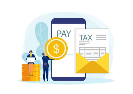 Tax Payment Concept, Business pay via online with Document for Taxes Flat Vector Illustration
