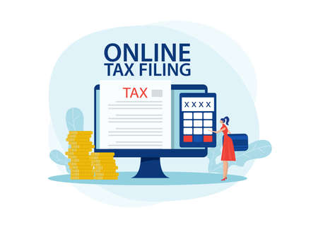 Online tax payment concept. woman paying taxes using a special form on the website of the tax service. Flat vector illustration Stock Illustratie