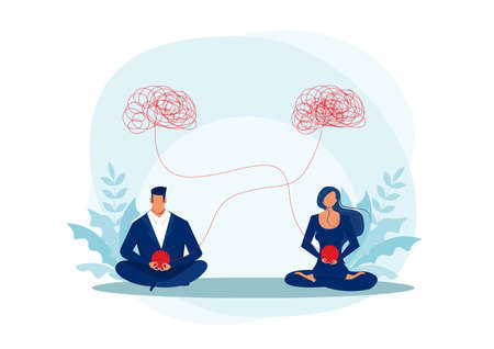 woman and man meditation, psychologist help vector illustration