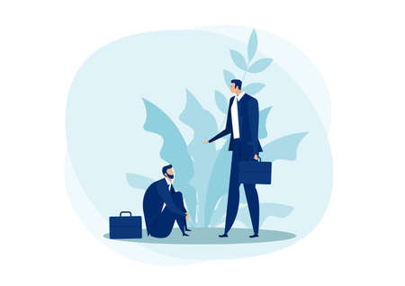 businessman getting  Helping hand from falling business empathy concept flat vector illustration. counseling and psychological support concept