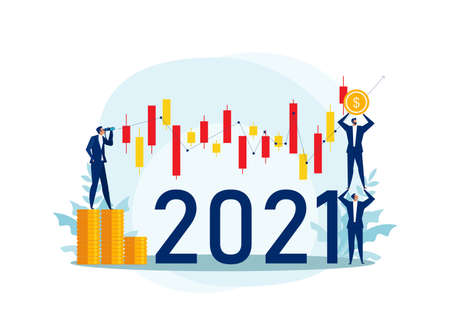 Businessman looking binoculars with candlestick chart of the stock market of 2021 years. Concept of stock investment  Flat cartoon character Vector illustration,
