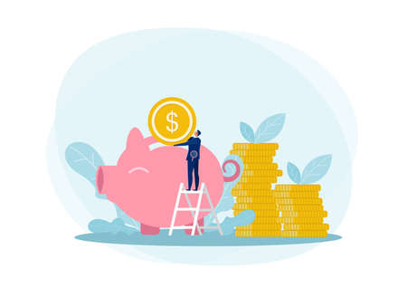 Businessman climbing up on a ladder and putting money into a big piggy bank,invest,fund,saving,growth profit Vector