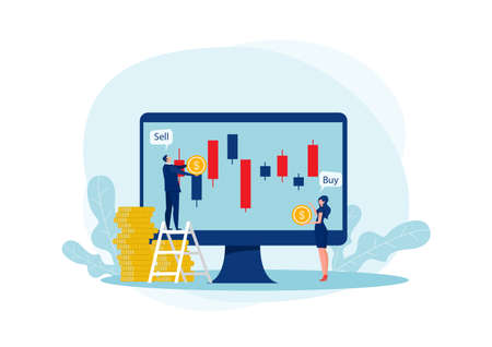 two business trader and business candlestick chart with buy and sell buttons on blue background Stock Illustratie
