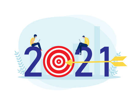 2021 Business plan and  target achievement Concept vector illustrator.
