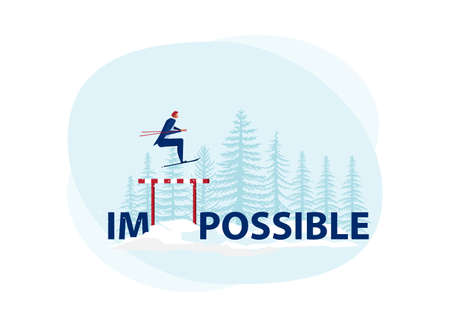 Businessman use sky jumping over impossible word to possible on snow background. Symbol of determination, aspiration, ambition, motivation and success Stock Illustratie