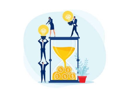 Team work Transport light bulb drop hourglass or Idea is money. Creativity business concept vector Stock Illustratie