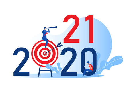 Businessman looking binoculars on target board for plan on 2021 years. leadership Concept Flat cartoon character Vector illustration