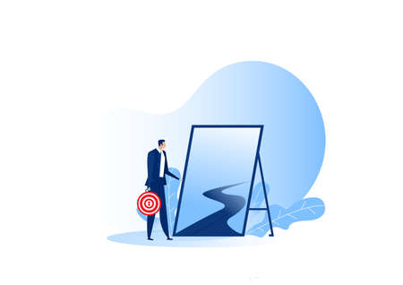 business standing outdoor to New journey to goal concept opportunities vector flat background