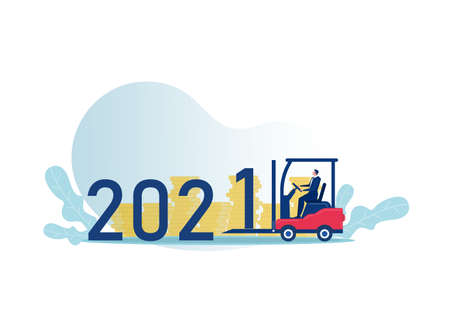 businessman driving forklift truck loading 2021 number delivery and shipping concept happy new year winter holidays celebration vector illustration Stock Illustratie