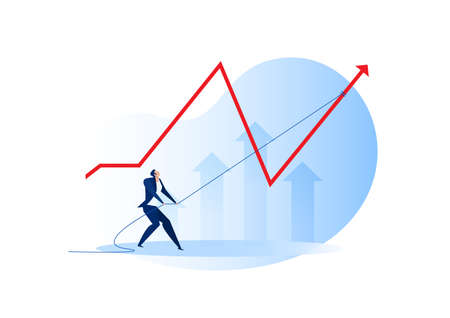 businessman Pull rope to flatten chart growth from risk concept vector illustration Stock Illustratie