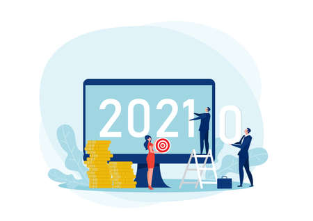 businessman changing 2020 To 2021 Transition of The Year Vector Illustration.Business vision, cooperation concept,
