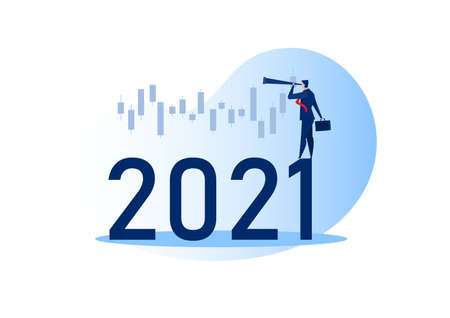 Businessman looking binoculars with candlestick chart of the stock market of 2021 years. Concept of stock investment; Flat cartoon character Vector illustration