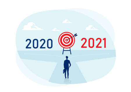 Businessman choose to New way between 2020 to 2021 year.  New Year Challenges Concept Stock Illustratie