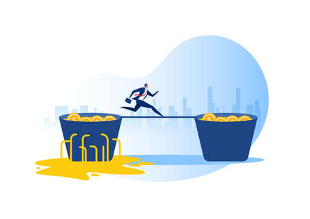 Businessman run from leaking bucket invest concept. Vector illustration.