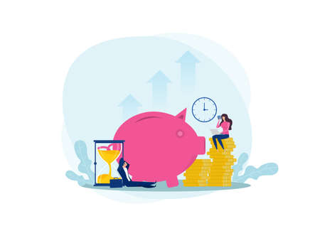 Poeple Save money  piggy bank , budget planning,incom with wealth and economy concept flat vector illustration.