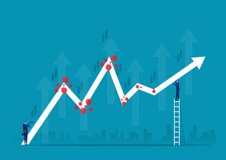 Businessman holding chart equity price move up from permitted unlocking after from COVID-19 virus be defeated stock market concept vector illustrator.