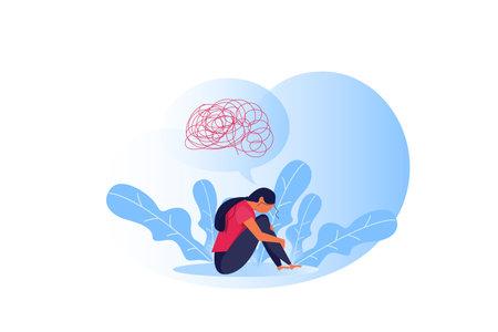 Woman suffers depression complex psychological disease emotion concept