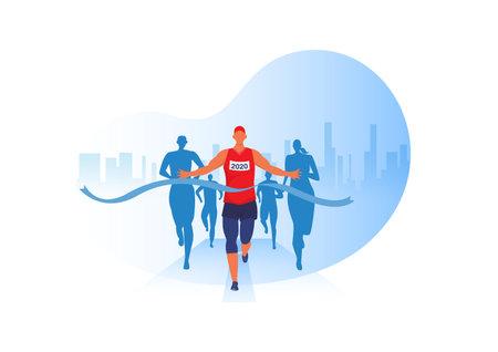 People running with clothes on marathon race, athletics event, sports group jogging, city background design vector Vektorgrafik