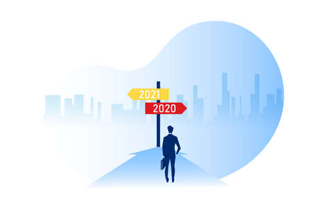 Business standing to look the way on year 2020 with 2021 direction or choose the right way to success concept vector.