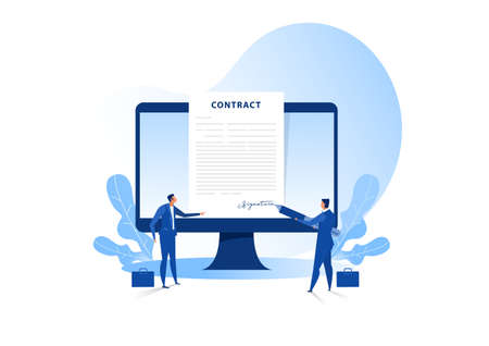 Businessman signing an agreement or contract online. vector