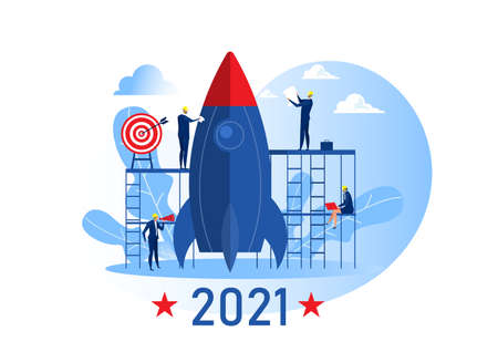Team business prepare rocket launch start business target 2021 years concept vector illustrator