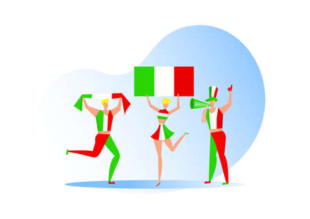 Sport fans,Italian people celebrating a football team. Active team support  Soccer symbol and victory celebration.