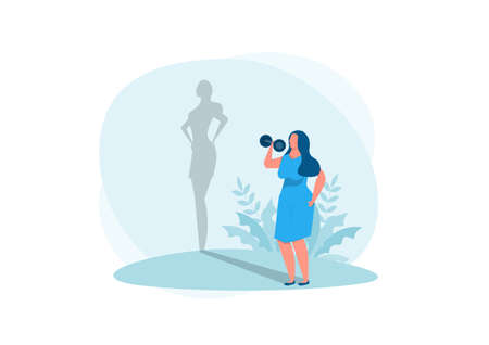 fat lady exercise with shadow fit reflection. Vector isolated illustration