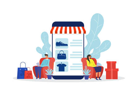woman and man shop online stor, promo purchase marketing illustration Illustration