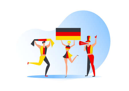 Sport fans,Germany  people celebrating a football team. Active team support  Soccer symbol and victory celebration.