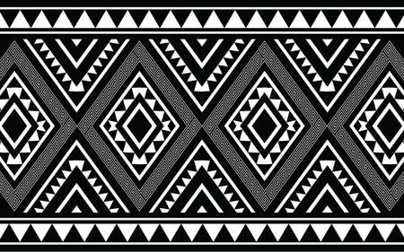 Ethnic geometric print pattern design  Aztec repeating background texture in black and white. Fabric, cloth design, wallpaper, wrapping